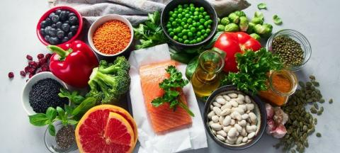 salmon, grapefruit, peas, beans, seeds