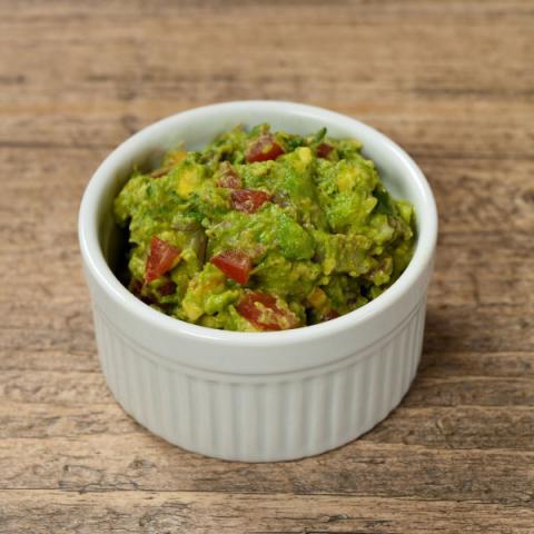 guacamole in a white bowl