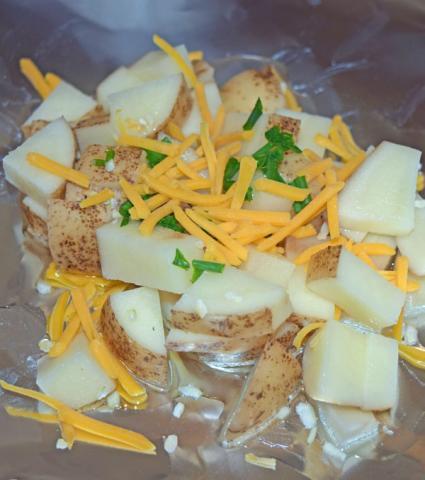 potatoes on foil