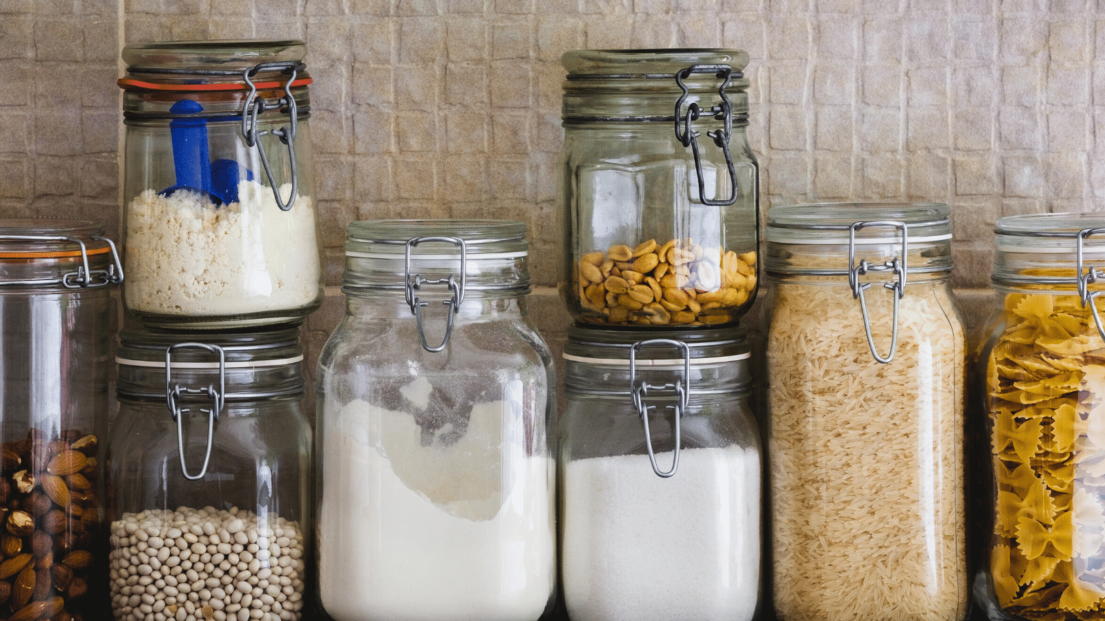 kitchen food staples in jars